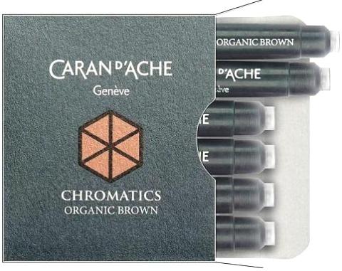 Caran d`Ache 8021.049 Коричневые картриджи с чернилами для перьевых ручек Chromatics, Organic Brown