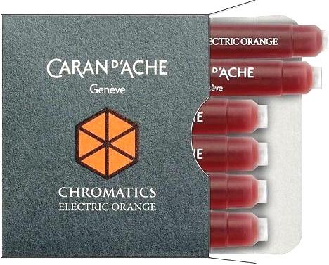 Caran d`Ache 8021.052 Оранжевые картриджи с чернилами для перьевых ручек Chromatics, Electric Orange