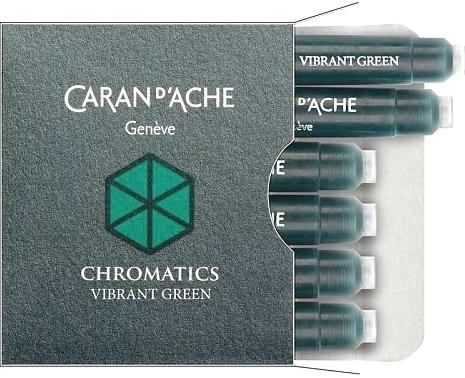 Caran d`Ache 8021.210 Ярко-зеленые картриджи с чернилами для перьевых ручек Chromatics, Vibrant Green