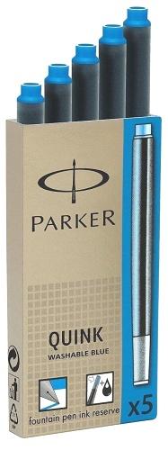 Parker S0116210 Картриджи с чернилами Quink для перьевой ручки Z11, стандартный, смываемый синий (Washable Blue)