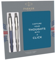 Набор: блокнот + 2 шариковые ручки Parker Jotter Core K61 / K63, Stainless Steel / Waterloo Blue CT