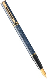 Ручка перьевая Waterman Laureat, Lacquer Blue Marbled GT (Перо F)